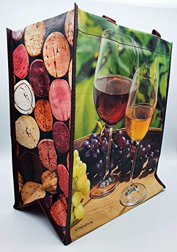 Flexo - 5 bolsas de lona resistentes para botellas de 27 + 18 x 32 cm de altura. Transporte vino, paquetes de regalo, bolsas con separador para 6 botellas