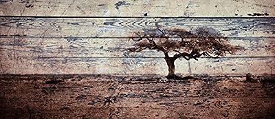 Impresión calidad fotográfica tintas ecológicas HP, sobre papel artístico pegado en la madera. Montado en tablero de aglomerado de 1cm y barnizado a mano.El efecto de las baldas de madera simula la impresión sobre un palé. Diseñado, impreso y montado...