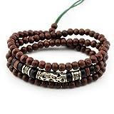 axy TWIC12-1 Tibet WICKELARMBAND Serie 12! Armband+Halskette Bracelet Necklace!Holz Perlen Surferarmband Herren Damen Schmuck