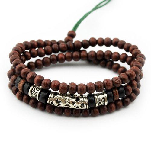 Axy Series 12 TWIC12-1 Tibetan Wrap Bracelet Bracelet / Necklace. Wooden beads. Surfer bracelet. Unisex jewellery