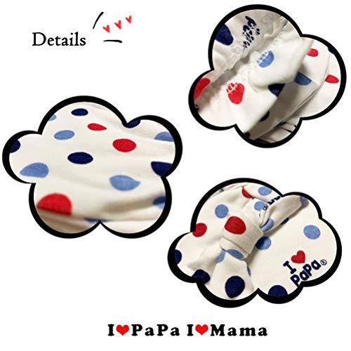 DecBaby Set Cappellini e AntiGraffio Guanti per Prima Infanzia Accessori per Bambini 0 a 3 Mesi 2* Berrettini e 2* Muffole Neonato (a Pois Blu, 0-3 Mesi)