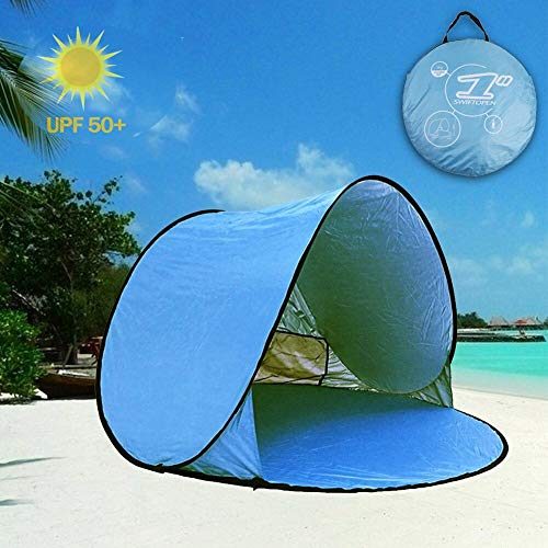 Easy Set-up Beach Tent Automatic Pop Up Instant Beach Shade Portable Outdoors Portable Family Sun Shelter with Carry Case (for 2-3 Persons) Best Gifts for Holidays