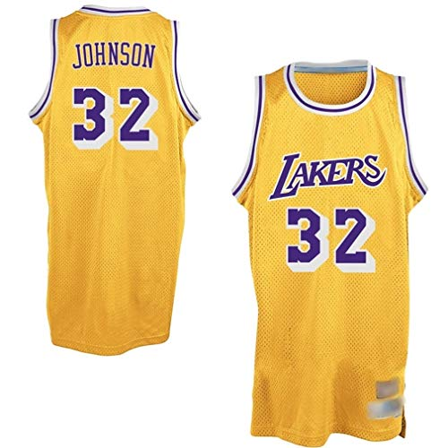 WOLFIRE WF Camiseta de Baloncesto para Hombre, NBA, Los Angeles Lakers #32 Magic Johnson, Transpirable y Resistente al Desgaste Camiseta para Fan (Magic Amarillo, M)
