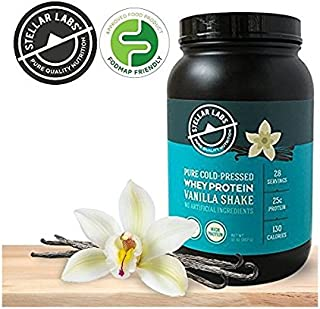 Stellar Labs Pure Cold-Pressed Vanilla Whey Protein Powder, Gluten-Free, High Protein, All Natural with Stevia, Low FODMAP, 28 Servings, 32oz