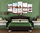 ZYJHD Canvas HD Prints Poster Home Decor 5 Pieces White Swans Near Charles Bridge In Prague Paintings Wall Art Room Pictures Frameless