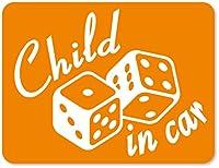 imoninn CHILD in car ステッカー 【マグネットタイプ】 No.30 ダイス (オレンジ色)