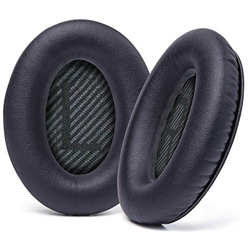 WC Wicked Cushions Upgraded Replacement Ear Pads for Bose QC35 & QC35ii (QuietComfort 35) Headphones & More - Softer Leather, Luxurious Memory Foam, Added Thickness, Extra Durability | (Black)