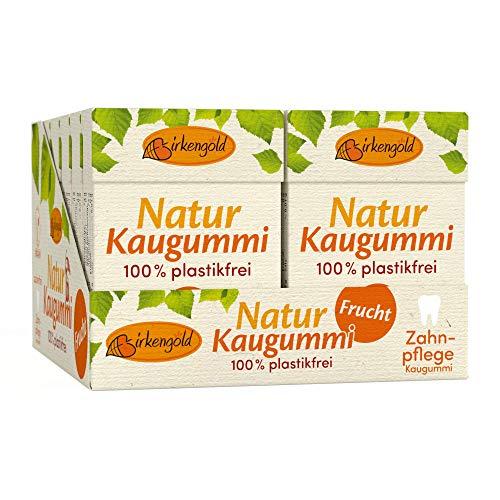 Natur Kaugummi ohne Plastik Frucht | 12 Stk. | Natürliche Kaumasse (Chicle) | Mit Xylit | Zahnpflegend | Zuckerfrei | Umweltfreundlich | Birkengold