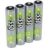 Pile ANSMANN AAA 550 mAh NiMH 1,2 V (lot de 4) - batteries rechargeables micro AAA, faible autodécharge maxE pour une utilisation pendant plusieurs années