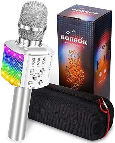 Karaoke Microfono Wireless, BONAOK Karaoke Bambini con Microfono Aggiornato 4 in 1 Portatile Rechargeable Karaoke Player, Portatile Festa a Casa LED Flash Microphone per Android iPhone PC (Argento)
