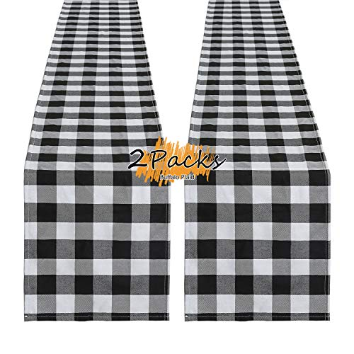 B-COOL Table Runner Halloween Decorations Black and White Buffalo Plaid 2 Pack 13 x 108 Inches Farmhouse Runner Cotton Linens for Family Dinners