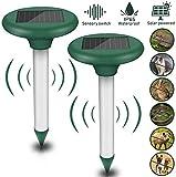 Ahuyentador Ultrasonidos Solar, 2 piezas Repelente Solar Ultrasónico, Repelente de Topo con IP56, Ultrasónico de Control de Plagas para Césped, Jardín, Aire Libre