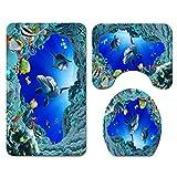 BTKNOO 3D Ocean Design Dolphin Tela Impermeable Cortina de baño Cortinas de Ducha Set Alfombras Antideslizantes Cubierta de la Tapa del Inodoro Alfombra de baño, C 3PCS, China
