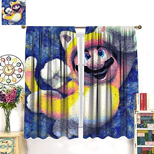 Petpany Juego de cortinas de ventana de Super Mario Game Comics, 107 x 160 cm, para cocina y cocina, para salón, comedor, dormitorio