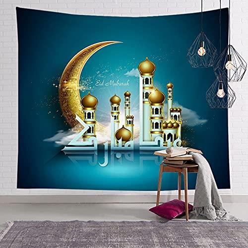 KHKJ Musulmán Luna Castillo Tapiz para Colgar en la Pared Viajar Camping Pintura al óleo Manta Boho Almohadilla de Yoga Tapices para Dormir A1 200x180cm