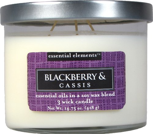 CANDLE-LITE Essential Elements 14-3/4-Ounce 3 Wick Candle with Soy Wax, Blackberry and Cassis