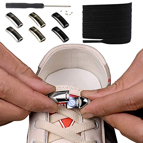 3 paires de lacets de chaussures élastiques à verrouillage magnétique sans cravate, enfants adulte unisexe, lacets faciles à faire paresseux sans cravate s'adaptent à toutes les chaussures (Noir)