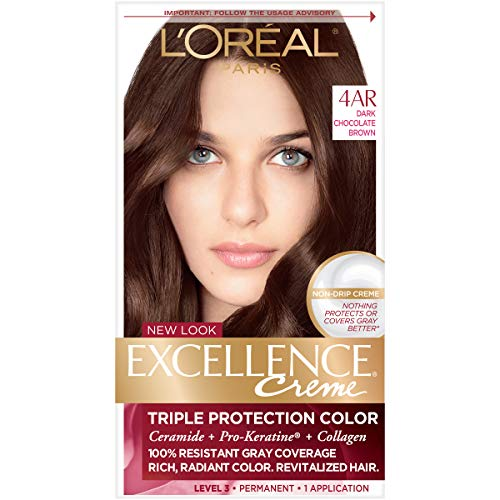 L'Oreal Paris Excellence Creme Permanent Hair Color, 4AR Dark Chocolate Brown, 1 Count kit 100% Gray Coverage Hair Dye