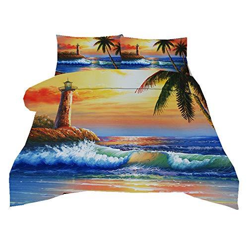 Sticker superb Öl Malerei Aquarell Dame mit Regenschirm Bettwäsche Set mit Kissenbezug, Blau Meer Brücke Baum Lila Gelb Bettbezug Set Mann Frau (Öl Malerei 3, 220x240cm)