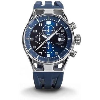 Orologio locman montecristo 0542a02s-00blwhsb al quarzo (batteria) acciaio quandrante blu cinturino caucciu`