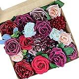 Roqueen Flores Artificiales Boda Decoraciones Rosas Flores Falsas Combo por Bricolaje Ramos Centros de Mesa Guirnaldas Arco Floral Preparativos Decoraciones