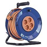 Emos - Tambor de Cable Profesional, Cable de 40 m con 4 enchufes, Enchufe de 1,5 mm, plástico Especial, Uso en Interiores (para casa/Taller/caravanas)