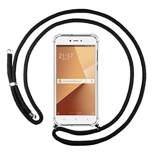 Funda Colgante Transparente para Xiaomi Redmi Note 5A Pro/Prime con Cordon Negro