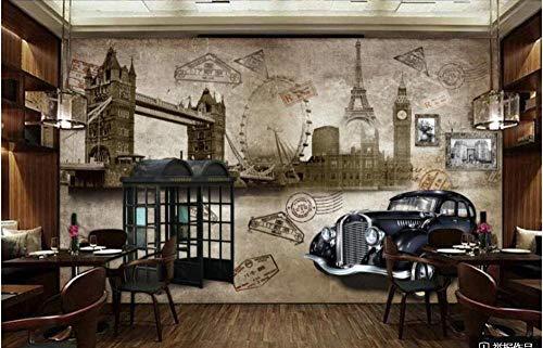 Papel Tapiz De Murales De Pared 3D Para Sala De Estar Vintage Nostálgico Estilo Inglés Cabina De Teléfono De Coche Clásico Fondo Decoración Del Hogar Pintura-350 * 245Cm