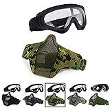 Aoutacc Airsoft - Juego de máscara y gafas de malla para CS/caza/paintball/tiro (camuflaje)