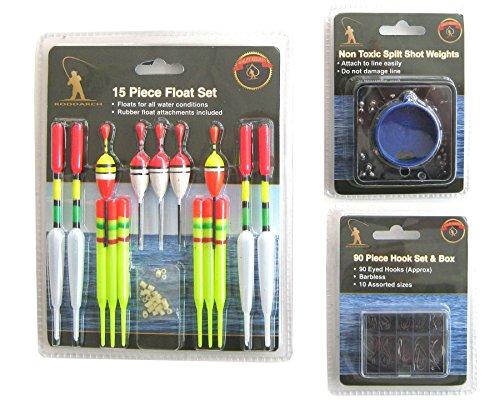 Roddarch 15 Piece Fishing Float Tackle Set Including 90 Hooks and Split Shot Selection