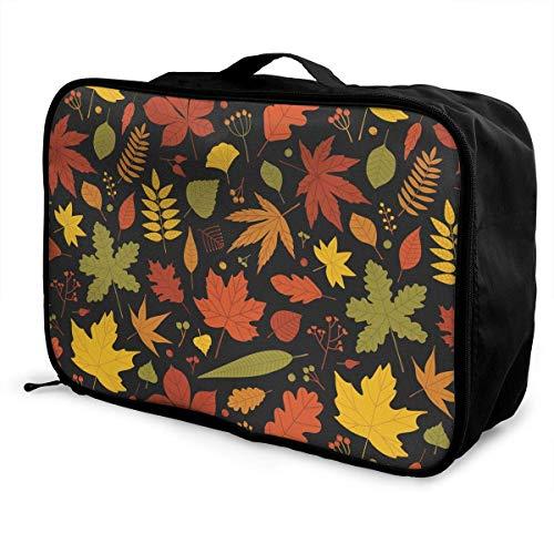 Qurbet Reisetaschen,Reisetasche, Bright Colored Autumn Pattern Overnight Carry On Luggage Waterproof Fashion Travel Bag Lightweight Suitcases