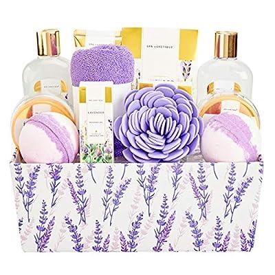 Spa Luxetique Spa Gift Basket, Lavender Bath Sets for Women, Luxury 12 Pcs Gift Baskets Home Bath Set with Massage oil, Bath Salts, Bath Bombs, Body Scrub, Best Gift Set for Women.