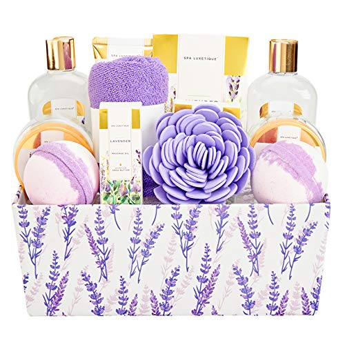 Spa Luxetique Spa Gift Basket, Lavender Bath Sets for Women, Luxury 12 Pcs Gift Baskets Home Bath Set with Massage oil, Bath Salts, Bath Bombs, Body Scrub, Best Gift Set for Women.