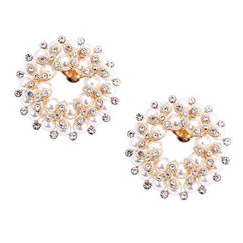 Elegantpark DE Il giro Decorativa Clip di scarpe Decorazioni per scarpe da sposa in strass di perle 2 pezzi in oro