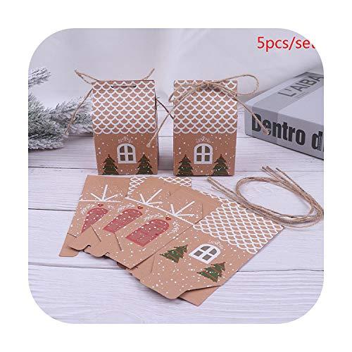 Kerstcadeaubox, kraftpapier, geschenktas, voor snoepjes, bonbons, koekjes, feestjes size Kleur: zwart/bruin,