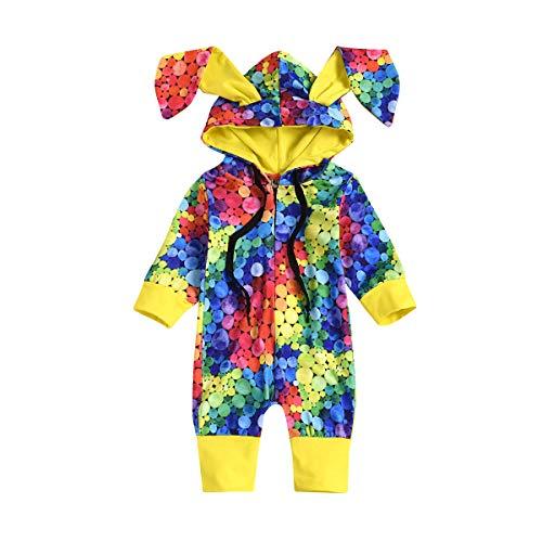FYMNSI - Mono con capucha para bebés y niñas, manga larga, con cremallera, sin pies, pijamas de una pieza para otoño invierno de 0 a 24 meses