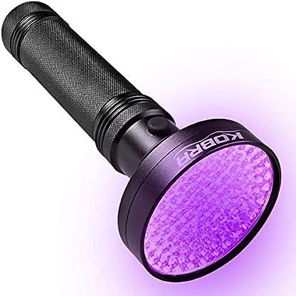 Kobra UV Black Light Flashlight 100 LED #1 Best UV Light and Blacklight for Home & Hotel Inspection, Pet Urine & Stains - Ultra Intensity 18W 385-395nm LEDs Spot Counterfeit Money, Leaks, Scorpions! 1