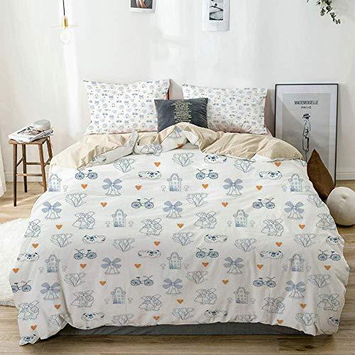 Juego de funda nórdica beige, elementos tradicionales de la cultura holandesa con zuecos estilo Doodle Bicicletas, juego de cama decorativo de 3 piezas con 2 fundas de almohada Fácil cuidado antialérg