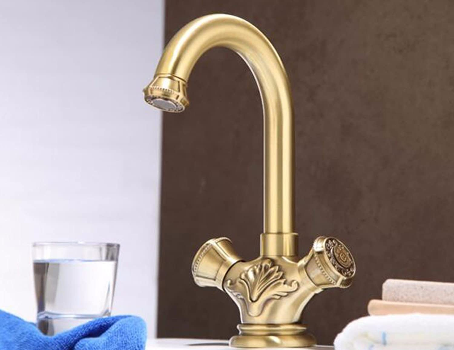 Qmpzg-Cu All Continental Carved Faucet?Cold Water Basin Basin Basin Mixer??Dual Single Hole Tap
