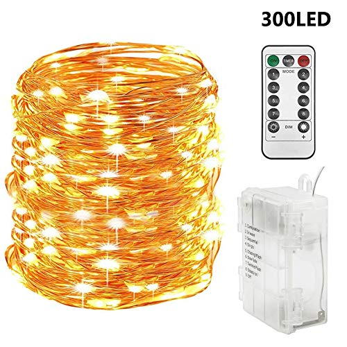Twinkle Star 300 LED 99 FT Copper Wire String Lights Battery Operated 8 Modes with Remote, Waterproof Fairy String Lights for Indoor Outdoor Home Wedding Party Decoration, Warm White