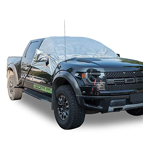 MARKSIGN Universal Fit Windshield Snow and Frost Cover for Large SUVs and Pickup Trucks, Anti-Theft...