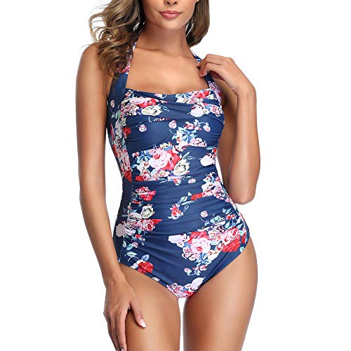 Smismivo Tummy Control Swimwear Black Halter One Piece Swimsuit Ruched Padded Bathing Suits for Women Slimming Vintage Bikini (Navy Flower, Large)
