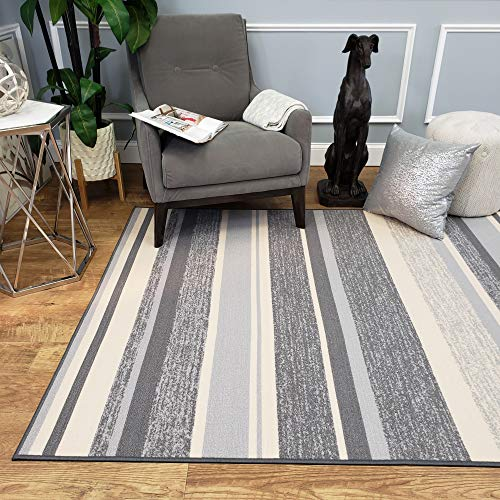 Rubber Backed Area Rug, 58 x 78 inch (fits 5x7 Area), Grey Striped, Non Slip, Kitchen Rugs and Mats