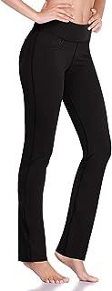"HISKYWIN 27""/29""/31""/33"" Women Inseam Mid-Waist Straight Leg Yoga Pants Non-See-Through Workout Leggings Pockets"