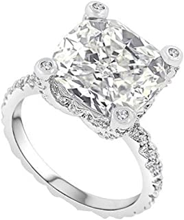 WoCoo Lady Diamond Ring Originality Drill Ring White Drill Women Jewelry(Silver,7)