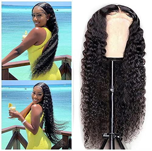 Human Hair Wig Lace Front for Black Women with Baby Hair Deep Culy Wave Wig Brazilian 150% Density Wet Wavy Pre Plucked Virgin Hair Wig Free Part 9A Glueless Unprocessed Hair Natural Color 16 Inch
