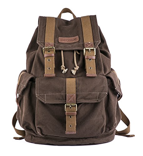 Gootium Canvas Backpack - Vintage Outdoor Rucksack Travel Day Pack, Coffee