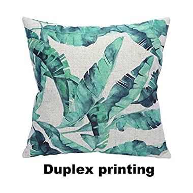 CC Wonderland Soft Decorative Square Pillow Cases Linen Pillow Covers with Invisible Zipper Throw Cushions Covers(1PCS), 18 Inch, Tropical Leaves, Jungle Leaves, Good Gift