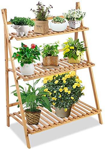 Ejoyous - Escalera para macetas, Escalera para Flores, estantería de Madera, estantería de 3 Niveles, Escalera para Flores, Escalera para Plantas, Escalera para Interior, 70 x 40 x 96 cm: Amazon.es: Jardín
