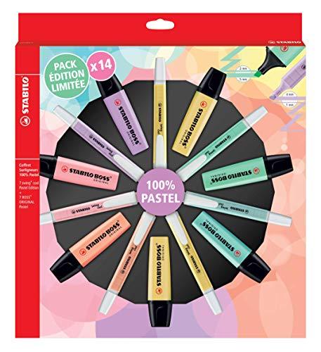 Evidenziatore - STABILO 100% PASTEL PACK - Edizione limitata con 14 Evidenziatore Pastel: 7 STABILO BOSS ORIGINAL Pastel + 7 STABILO swing cool Pastel